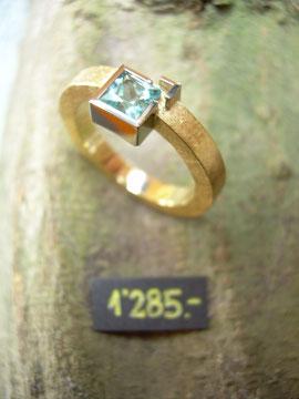 Bild:Ring,Gelbgold,Weissgold,750,Turmalin,carré,blaugrün,Unikat,Handarbeit