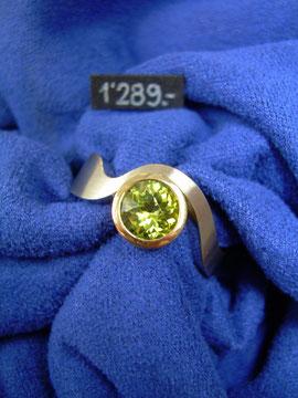 Bild:Ring,Palladium950,Gelbgold750,18kt,Turmalin,gelb,gelbgrün,Handarbeit,Unikat