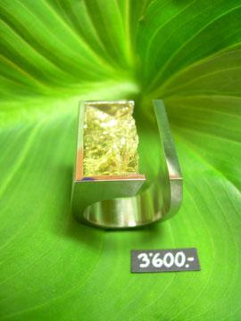 Bild:Ring,Palladium950,Beryll,gelb,Naturstruktur,Spiegelschliff,Handarbeit,Unikat