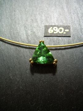 Bild:Halsschmuck,Anhänger,Gelbgold750,18kt,Turmalin,grün,Handarbeit,Unikat