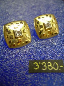 Bild:Ohrschmuck,Ohrstecker,Gelbgold750,18kt,Klimt,Diamant,carré-princess,Schliff,Handarbeit