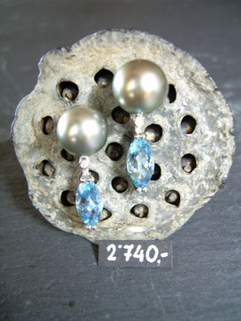 Bild:Ohrschmuck,Ohrstecker,Platin950,Tahitiperlen,Brillant,Diamant,Aquamarin,top,Handarbeit,Unikat