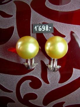 Bild:Ohrschmuck,Ohrclips,Weissgold750,18kt,Südsee,Perlen,Gold,goldfarben,exclusiv