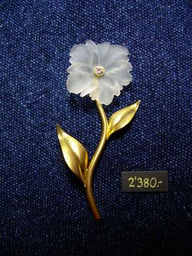 Bild:Ansteckschmuck,Brosche,Gelbgold750,18kt,Brillant,Diamant,Bergkristall,graviert,Handarbeit,Unikat
