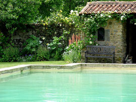 Stone walled swimming pool, Chateau de Tennessus castle