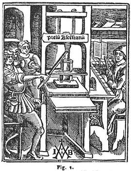 Une des premières presses à imprimer, image tirée de l'Encyclopédie Trousset, Paris, 1886 - 1891.