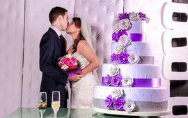 Blumentorte, Hochzeitstorte, Hochzeitsfarbe Lila