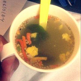 あっちゃんがもって来てくれた春雨スープで朝ごはん
