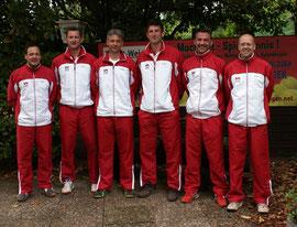 Die Herren 40-1 des TC Rot-Weiss Dillingen : Christian Warken, Achim Giro, Roman Lauer, Michael Theis, Oliver Riebel und Wolfgang Kiefer.