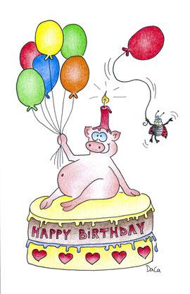 Geburtstagskarte Schwein mit Kerze auf Kopf sitzt auf Torte