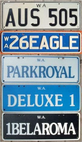 Nummernschilder aus West Australien