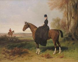 Ölgemälde einer lippischen Prinzessin zu Pferde.