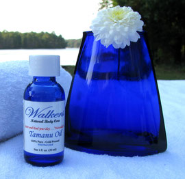 Tamanu Oil 1 oz Cobalt Blue glass bottle