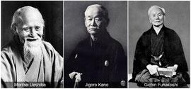 Morihei Ueshiba, Jigoro Kano et Gichin Funakoshi