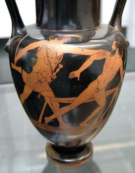 Theseus bezwingt Prokrustes – den Riesen, der Reisenden die Beine abhackte oder sie streckte, damit sie ins Prokrustesbett passten …Ein Sinn-Bild für Google+ vs. Facebook?