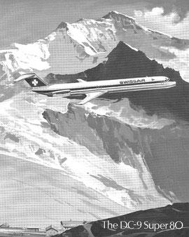 Modellzeichung der DC-9 Super 80 im alten Farbkleid der Swissair/Courtesy: McDonnell Douglas