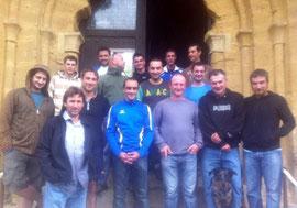 L'équipe des Bisons est allée brûler un cierge à l'église de Tayac juste avant le match...