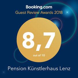 """Ausgezeichnet von Booking.com mit dem """"Guest Review Award 2018"""" - Restaurant Künstlerhaus Lenz"""