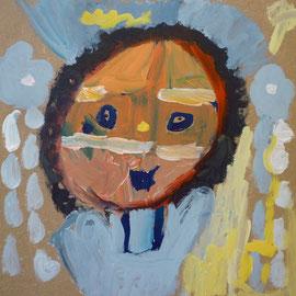 Kunstenaares Ayse, Hart van Noord, Zeven Gaven, portret van 30cm x 30cm, acrylverf op paneel, 2011.