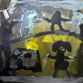Kunstenares Aysenur, groep 3. Anna Frank School,30cm x 30cm, Acrylverf op paneel, Central Station, 2011.