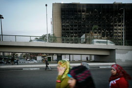 The burnt-out former party building of Mubarak`s NDP in the centre of Cairo