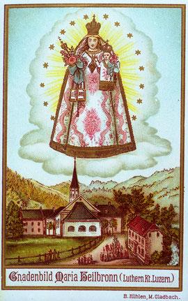 Luthern Bad, Gandenbild Maria Heilbronn,von B Kühlen, Farblitho, Jakob Minders Marientraum