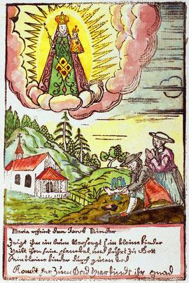 Luthern Bad, Gnadenbild Jakob Minder gräbt Quelle, Text Maria erscheint dem Jakob Minder, handcoloriert