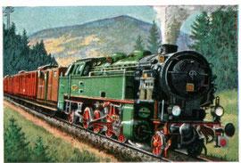 Sammelbild mit H.B.E.-Dampflok Nr. 10 im Harz