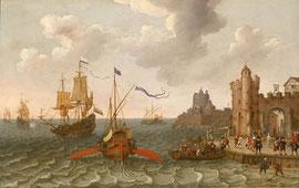 Abraham Willaerts, Schiffe vor Stadt, 17. Jh.