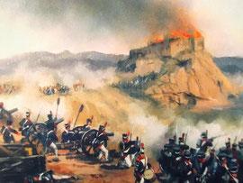 Die letze Belagerung der Burg durch die napoleonischen Truppen 1808 (Gemälde: Archiv Amics Castell de Quermançó)