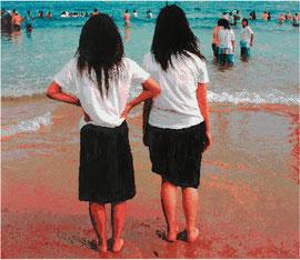 Zwei Schulmädchen blicken aufs Meer 2010 Öl/LW 130 x 150 cm