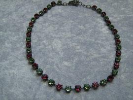 Collier pink-grün Swarovski-Steine