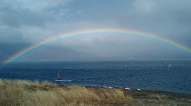 本栖湖に虹!