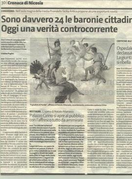 Palazzo Cirino si apre al pubblico con l'affresco tutto da ammirare- Giornale di Sicilia 13.2.2009