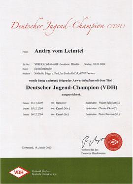 Andras Urkunde zum Deutschen Jugend Champion!