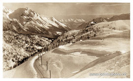 Verlag Engadin Press Co., Samaden u. St. Moritz. Karte ungelaufen, mit Hotelstempel des Belvédère