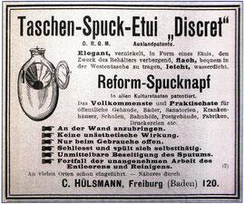 """Zeitungsanzeige von 1902 für das Taschen-Spuck-Etui """"Discret"""". Das ideale Geschenk für einen hustenden Großvater."""