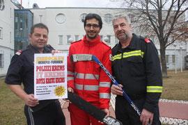 V.l.n.r.: Polizei Krems Werner Nürnberger, Rotes Kreuz Krems Jürgen Pfeiffer, Feuerwehr Krems Peter Krenos. Foto: FF Krems.