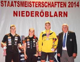 V.l.n.r.: David Fischer, Sarah Fischer, Florian Koch und Obmann Johann Fischer. Foto: zVg