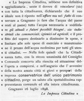 Rara copia del manifesto fatto uscire a Gragnano il 16 luglio 1898 dall'Assessore Alfonso Garofalo