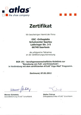 Atlas Zertifikat - OSC Saarlouis