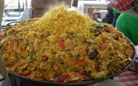 Seafood Paella Served Piping Hot in one Booth