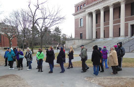 Our group on a walking tour of Harvard