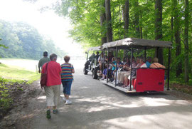 A garden tram transports visitors around Hildene