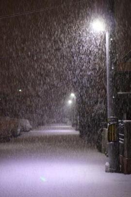 2013年1月27日夜の神戸の雪景色