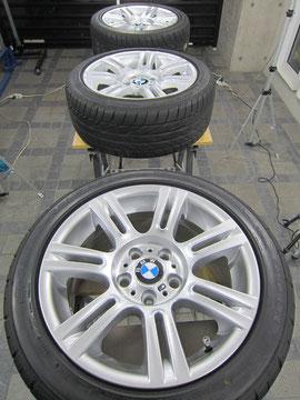 BMW325i Mスポーツ アルミホイールの、ガリ傷・すりキズ・塗装はげ のリペア(修理・修復・再生)及び ガラスコーティング加工後の写真1