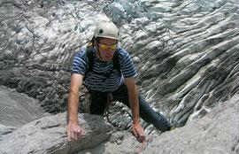 Klettern hoch über dem Gletscher, Route Aura