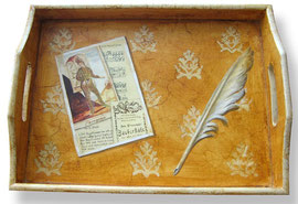 Trompe l'oeil painting on a tray