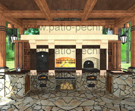 Фото беседки печного комплекса с коптильней, русской печью, плитой под казан, каминная вставка, мангал, вертел,уличная кухня с мойкой