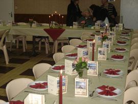 La salle décorée par le comité des fêtes